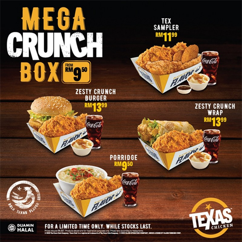 Texas-Chicken-Mega-Meals-Mega-Crunch-Box-Promo-350x350 - Beverages Food , Restaurant & Pub Johor Kedah Kelantan Kuala Lumpur Melaka Negeri Sembilan Pahang Penang Perak Perlis Promotions & Freebies Putrajaya Sabah Sarawak Selangor Terengganu