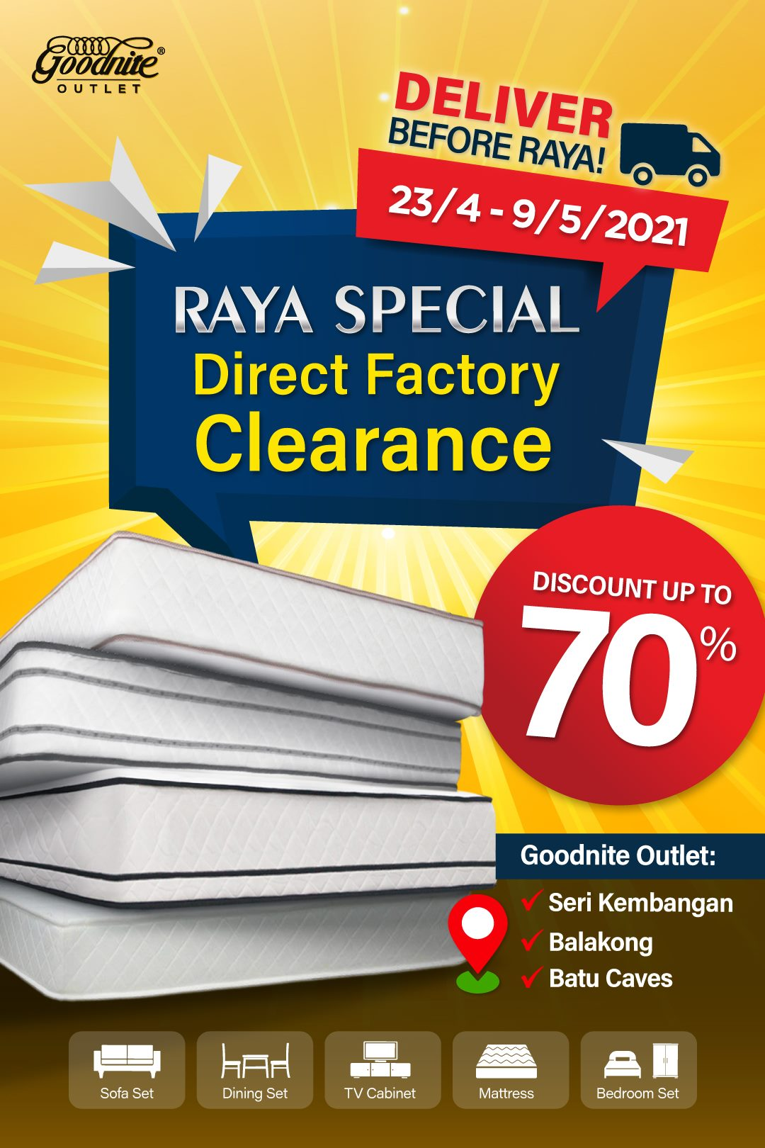 Goodnite-Raya-Clearance-Sale-350x525 - Beddings Furniture Home & Garden & Tools Home Decor Selangor Warehouse Sale & Clearance in Malaysia