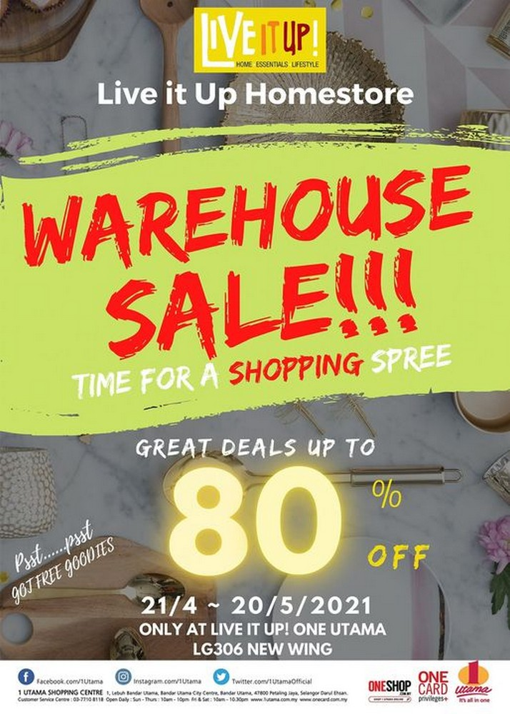 Live-it-Up-Warehouse-Sale-350x490 - Home & Garden & Tools Home Decor Kitchenware Others Sales Happening Now In Malaysia Selangor This Week Sales In Malaysia Warehouse Sale & Clearance in Malaysia